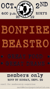 beastro whisky night tasting bonfire poster