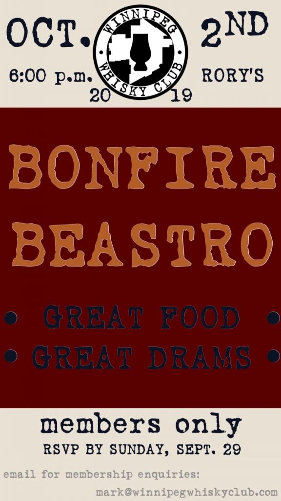 beastro whisky night tasting bonfire poster